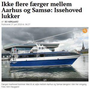 Ikke flere færger mellem Aarhus og Samsø: Issehoved lukker for i år