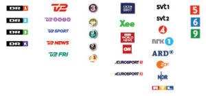 31 kanaler: DR kanalerne - TV2 kanalerne - TV3 kanalerne - Nabokanalerne - Nyheder og Sport