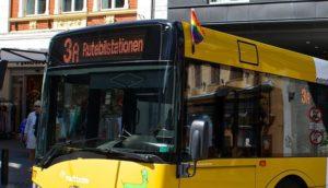 Aarhus Pride 2014 - Regnbueflag på Bybusserne