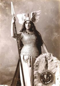 Austrian soprano Anna Bahr-Mildenburg as Brünnhilde (Brunhilde) in Richard Wagner's Walküre. 1898. (Public Domain)