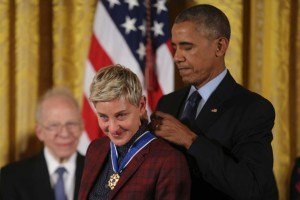 Barack Obama chokes up while presenting Ellen DeGeneres with Presidential Medal of Freedom