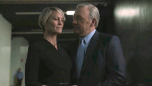 Kevin Spacey as President Frank Underwood and Robin Wright as Claire Underwood.