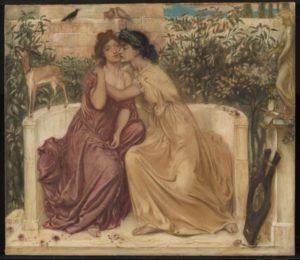 Sappho and Erinna in a Garden at Mytilene 1864 by Simeon Solomon 1840-1905
