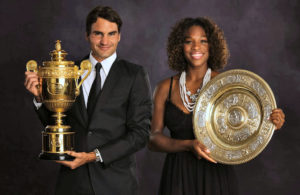 Federer and Williams have won Grand Slam titles on the same court on the same weekend eight times, including Wimbledon in 2009, as shown here. Williams has the edge in overall singles Grand Slams with 23 to Federer's 20.CreditAeltc Pool Picture/BOB MARTIN, via European Pressphoto Agency