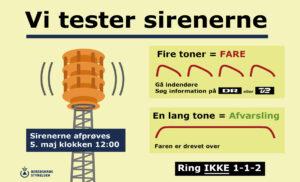 Vi tester sirenerne onsdag den 5. maj