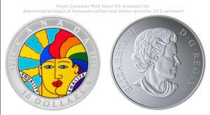 Royal Canadian Mint fejrer 50-årsdagen for dekriminaliseringen af homoseksualitet med denne specielle 10 $ sølvmønt