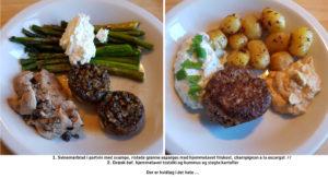 1. Svinemørbrad i portvin med svampe, ristede grønne asparges med hjemmelavet friskost, champignon a la escargot 2. Græsk bøf, hjemmelavet tzatziki og hummus og stegte kartofler Der er hvidløg i det hele ...
