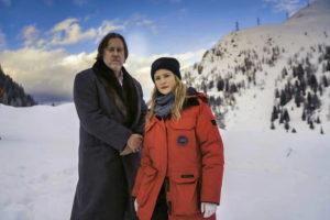 Nicholas Ofczarek (left) as Gedeon Winter and Julie Jentsch as Ellie Stocker in Der Pass