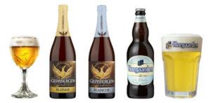 Der er Grimbergen Blonde 6,7% - Grimbergen Blanche 6% - Hoegaarden Witbier 4,9% i fadeburet