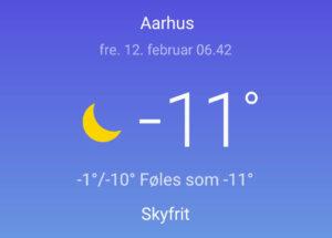 friskfredag12022021 - -11 grader i Århus