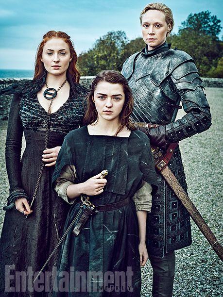 Maisie Williams as Arya Stark, Sophie Turner as Sansa Stark, Gwendoline Christie as Brienne of Tarth,