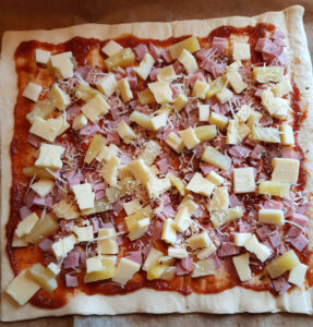 Hawaiipizza - før