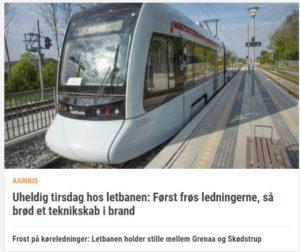 Frost på køreledninger: Letbanen holder stille mellem Grenaa og Skødstrup