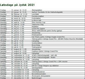 Løbsdage på Jydsk Væddeløbsbane 2021