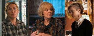 Kate Winslet i en træt skjorte, spydige mor Helen og datteren Siobhan med asymmetrisk undercut ...