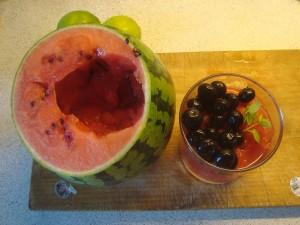 Vandmelon med vodka, blåbær og mynte