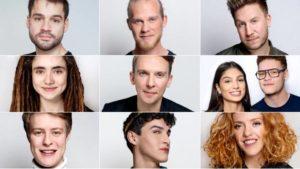 Her er de; de ni finalister, der deltager i årets - spritnye - semifinale i Dansk Melodi Grand Prix 2020. (Foto: Agnete Schlichtkrull © dr)