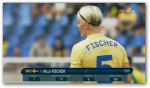 Nilla Fisher (Sweden, soccer) scorede OLs første mål