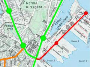 Fra Nørrebrokrydset til endestationen på Pier 4 er der ca, 1,2 km