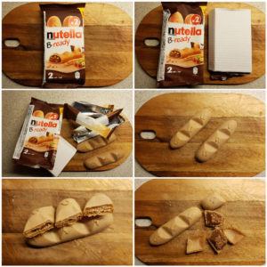 En tør vaffelkiks formet som en mini-baguette med Nutella.