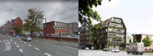Ny bygning til venstre for den fredede bygning i Mølleparken
