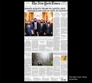 NY Times 14.feb 2021: Senators voted 57-43 in favor of conviction, failing to reach the 67 votes needed to find former President Drumph guilty of inciting the Capitol riot. The verdict brings an abrupt end to the fourth presidential impeachment trial in U.S. history, concluding after just five days. It is unlikely to be the final word for Mr. Drumph, his badly divided party or the festering wounds the Jan. 6 riot left behind.