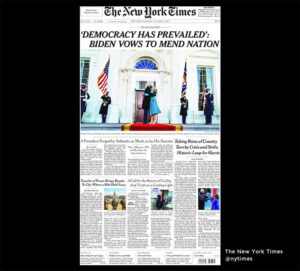NY Times 21.jan 2021: 'Democracy has Prevailed': Biden Vows to Mend Nation