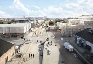 visualisering af området med den nye arkitektskole