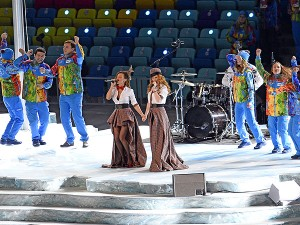 t.A.T.u. perform during the Opening Ceremony pre-show ANDREJ ISAKOVIC / AFP / GETTY