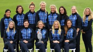 (Standing L-R) Celine Boutier, Carlota Ciganda, Anne Van Dam, Anna Nordqvist, Suzann Pettersen, Georgia Hall, Caroline Hedwall, Bronte Law (Sitting Down L-R) Jodi Ewart Shadoff, Caroline Masson, Catriona Matthew, Charley Hull and Azahara Munoz of Team Europe pose for the official photo during a practice round prior to the start of The Solheim Cup at Gleneagles on September 10, 2019 in Auchterarder, Scotland. (Photo by Stuart Franklin/Getty Images)