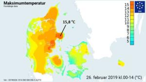 Forår i luften: Varmerekord blev tangeret tirsdag den 26.feb 2019