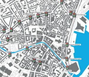 Her er de 17 fodgængerfelter - Kort: Aarhus Kommune