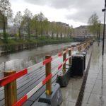 Siden tirsdag den 28. april har der været en afspærring mellem åen og Mølleparken.